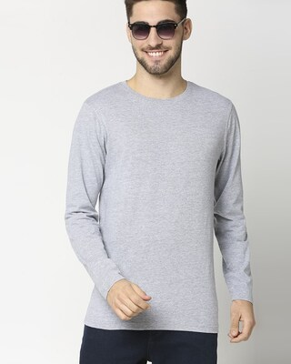 Shop Light Grey Melange Full Sleeve T-Shirt-Front
