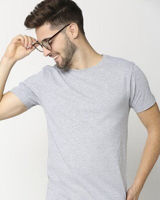 Shop Light Grey Melange Half Sleeve T-Shirt-Front