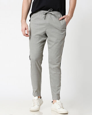 Shop Light Grey Men's Casual Pants-Front