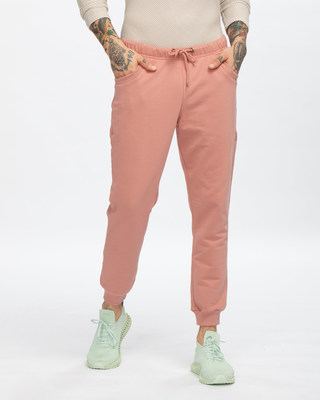Shop Light Pink Joggers-Front