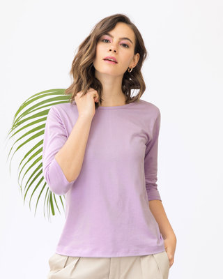 Shop Lilac Breeze Round Neck 3/4th Sleeve T-Shirt-Front