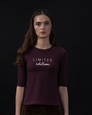 Shop Limited Edition Minimal Round Neck 3/4th Sleeve T-Shirt-Front