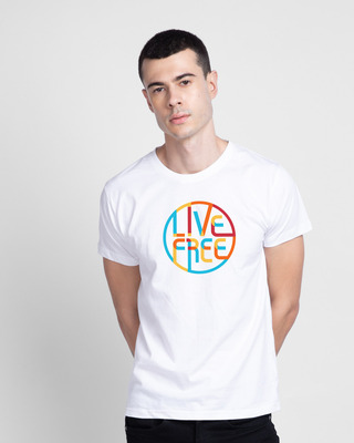 Shop Live Free Colorful Half Sleeve T-Shirt-Front