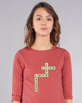 Shop Live Love Laugh Round Neck 3/4th Sleeve T-Shirt-Front