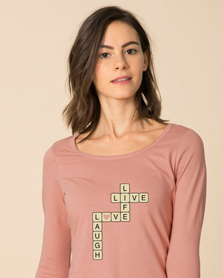 Shop Live Love Laugh Scoop Neck Full Sleeve T-Shirt-Front
