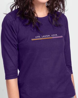 Shop Live Love Strip Round Neck 3/4 Sleeve T-Shirts Parachute Purple -Front