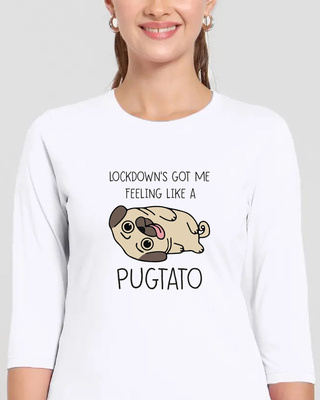 Shop Lockdown Pug Round Neck 3/4th Sleeve T-Shirt-Front