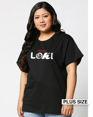 Shop Loki Logo Boyfriend Printed T-Shirt Plus Size (AVL)-Front