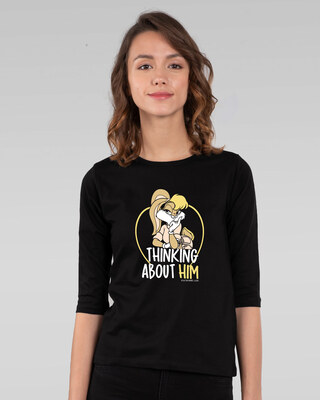 Shop Lola thinking Round Neck 3/4th Sleeve T-Shirt (LTL)-Front