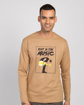 Shop Lost In The Guitar Full Sleeve T-Shirt-Front