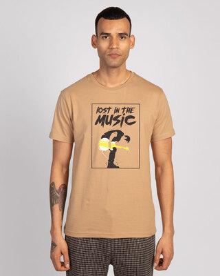 Shop Lost In The Guitar Half Sleeve T-Shirt Pastel Beige-Front