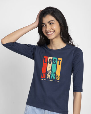 Shop Lost Mountains Round Neck 3/4th Sleeve T-Shirt-Front