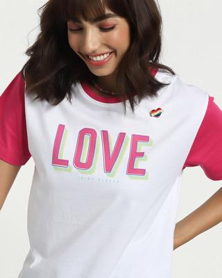 Shop Love Contrast Sleeve Boyfriend T-Shirt-Front