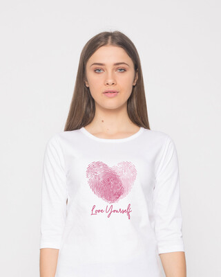 Shop Love Fingerprint Round Neck 3/4th Sleeve T-Shirt-Front
