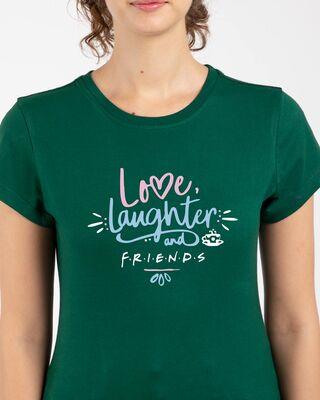 Shop Love Friends Half Sleeve Printed T-Shirt Dark Forest Green-Front