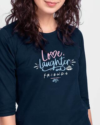 Shop Love Friends Round Neck 3/4 Sleeve T-Shirts Navy Blue-Front
