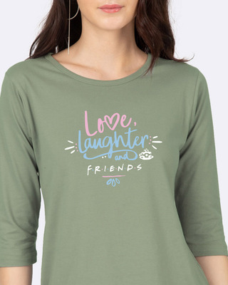 Shop Love Friends Round Neck 3/4 Sleeve T-Shirts-Front