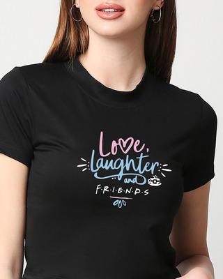Shop Love Laughter Women Printed Black Sung Blouse-Front