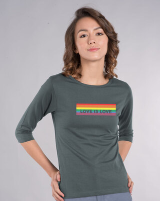 Shop Love Is Love 3/4th Sleeve T-Shirt-Front