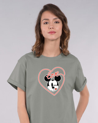 Shop Love Mickey Hearts Boyfriend T-Shirt (DL)-Front