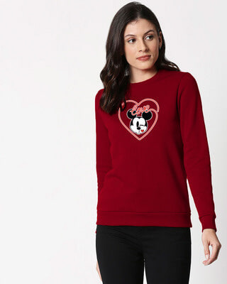Shop Love Mickey Hearts  Fleece Sweater (DL)-Front