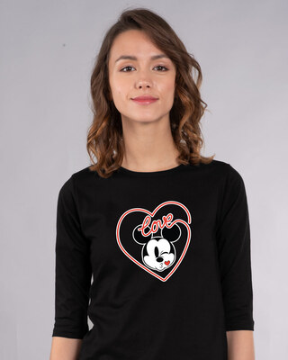 Shop Love Mickey Hearts Round Neck 3/4th Sleeve T-Shirt (DL)-Front
