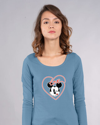 Shop Love Mickey Hearts Scoop Neck Full Sleeve T-Shirt (DL)-Front