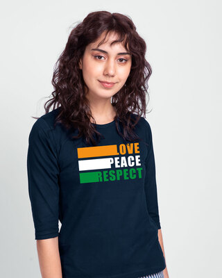 Shop Love Peace Respect Round Neck 3/4 Sleeve T-Shirt - Navy Blue-Front