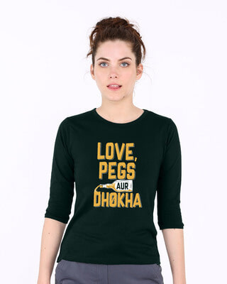 Shop Love Pegs Aur Dhoka Round Neck 3/4th Sleeve T-Shirt-Front