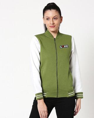 Shop Love Badge Varsity Bomber Jacket-Front
