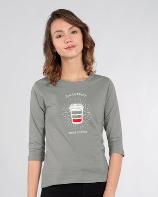Shop Low Battery Coffee Round Neck 3/4th Sleeve T-Shirt-Front