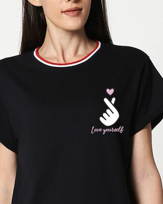 Shop Ly Bts Army Crewneck Varsity Rib T-Shirt-Multicolor-Front