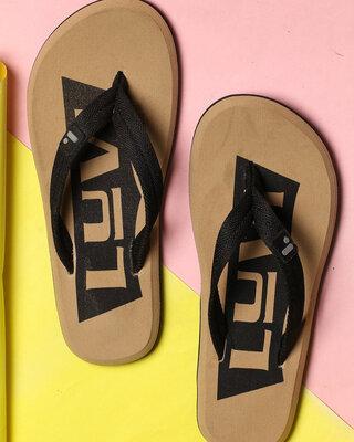 Shop LYVI Dito Beige Color Casual Flip-Flop's for Men-Front