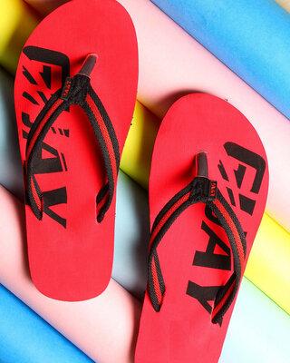 Shop LYVI Guay Red Color Casual Flip-Flop's for Men-Front