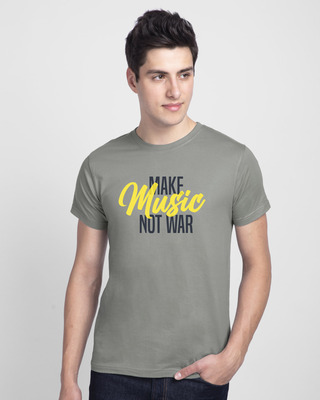 Shop Make Music Not War Half Sleeve T-shirt-Front