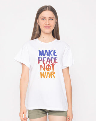 Shop Make Peace Colorful Boyfriend T-Shirt-Front
