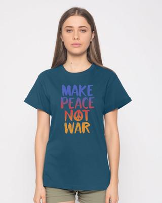 Shop Make Peace Colorful Boyfriend T-Shirt-Front