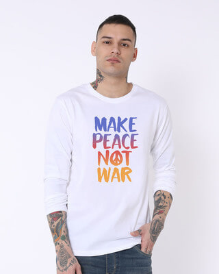 Shop Make Peace Colorful Full Sleeve T-Shirt-Front