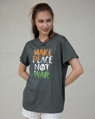 Shop Make Peace Tricolor Boyfriend T-Shirt-Front