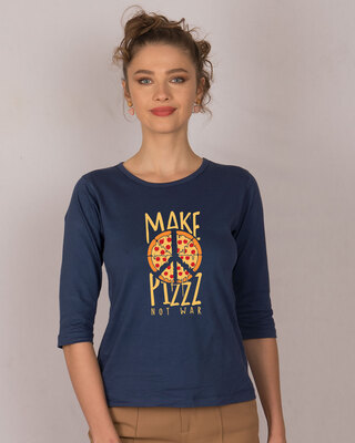 Shop Make Pizz Round Neck 3/4th Sleeve T-Shirt-Front