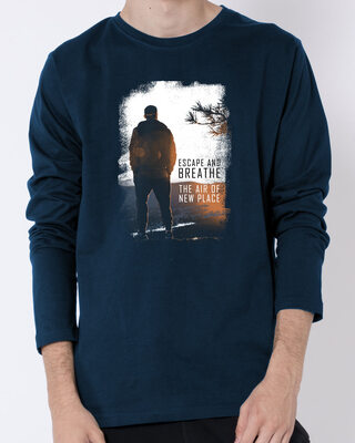 Shop Make Tracks Full Sleeve T-Shirt Navy Blue-Front
