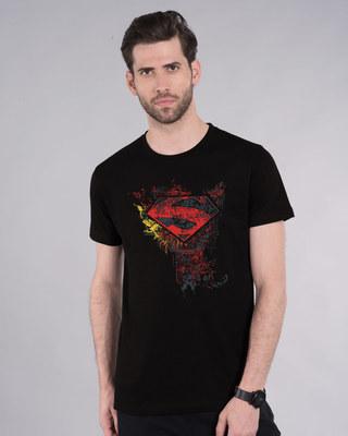 Shop Man Of Steel Emblem Half Sleeve T-Shirt (SL)-Front