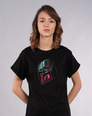 Shop Mandalorian Helmet Boyfriend T-Shirt (SWL)-Front