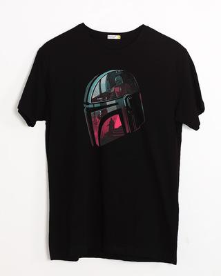 Shop Mandalorian Helmet Half Sleeve T-Shirt (SWL)-Front