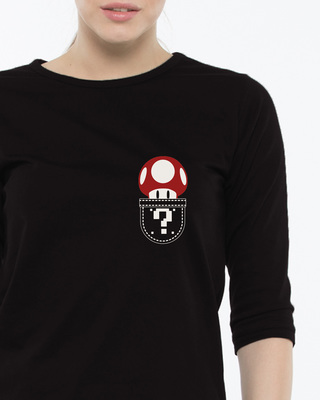 Shop Mario Pocket Round Neck 3/4th Sleeve T-Shirt-Front