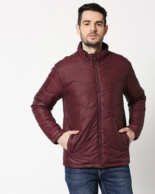 Shop Maroon Chill Block Wave Puffer Jacket-Front