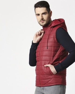 Shop Maroon Plain Sleeveless Puffer Jacket with Detachable Hood-Front