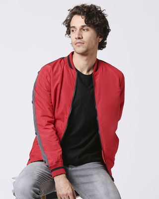 Shop Maroon Scuba Strip Bomber Jacket-Front