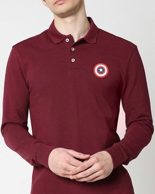 Shop Marvel Shield Full Sleeve Printed Pique Polo-Front