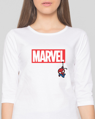 Shop Marvel Spidey Round Neck 3/4 Sleeve T-Shirts (FFHL)-Front